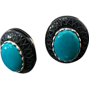 Sterling Silver Pierced Post Turquoise/Onyx Earrings