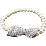 Sterling Silver Cultured Pearl & Simulated Diamond Bow Bracelet