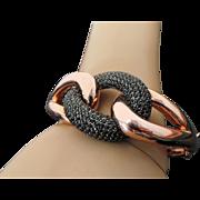 Sterling Silver Rose Gold Black Spinel Hinged Bangle Bracelet