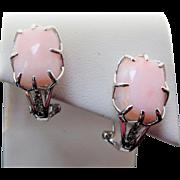Vintage Sterling Silver Rose Quartz & Topaz Pierced Earrings