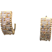 Sterling Silver Vermeil Baguette & Round Fax Diamond Pierced Small Huggie Earrings