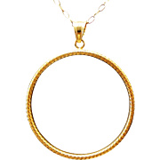 Sterling Silver/Vermeil Diamond Cut Circle Single Chain Necklace ~ 36""