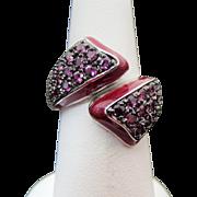 Sterling Silver Red Enamel & Rhodolite Garnet Bypass Ring