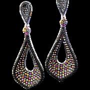 Sterling Silver Multi Color Sapphire & Black CZ Pierced Dangle Earrings