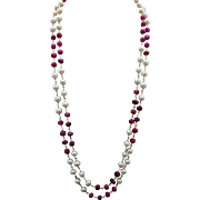 """Sterling Silver/Vermeil Ruby Pearl Necklace 36"""""""