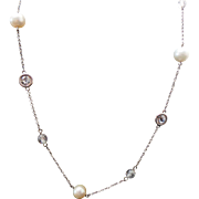 Sterling Silver 8 mm Cultured Pearl, CZ And Crystal Necklace Circa 1995