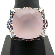 Sterling Silver Square Rose Quartz & Pink Sapphire Ring
