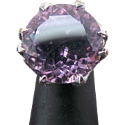 Beautiful Huge Faceted Round 32 Carat Amethyst With Gold & White Zircon Ring