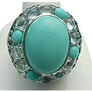Sterling Silver Persian Turquoise, Topaz & Aqua Marine Ring