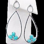 Sterling Silver Pierced Turquoise & Blue Diamond Hoop Earrings