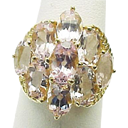 14k Yellow Gold 5.40 Carat Pink Sapphire Cocktail Ring ~ Circa 1995