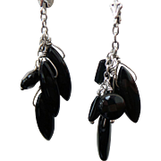 Sterling Silver Pierced Dangle Onyx Earrings