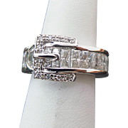 Sterling Silver Buckle Simulated Diamond Ring ~ Circa 1995