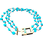 Vintage Three Strand Sleeping Beauty Turquoise Vermeil Necklace