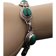 Sterling Silver Malachite Link Bracelet