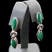 Sterling Silver Malachite Pierced Dangle Earrings
