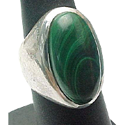 Mexico Unisex Sterling Silver Elongated Malachite Ring