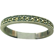 Vintage Sterling Silver Marcasite Eternity Band
