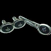 Lamode Sterling Silver MASONIC Money Clip & Matching Cuff Links