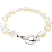 Vintage Chunky Milky Quartz & Sterling Silver Toggle Clasp