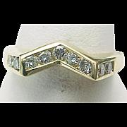 14K Yellow Gold Modernist Diamond Ring