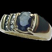 14K Yellow Gold Modernist Sapphire & Diamond Ring
