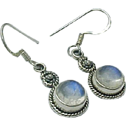 Vintage Sterling Silver Moonstone Pierced Dangle Earrings