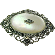 Vintage Sterling Silver, Mother Of Pearl & Marcasite Brooch