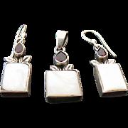 Sterling Silver Inlaid Mother Of Pearl & Garnet Pendant/Pierced Dangle Earrings