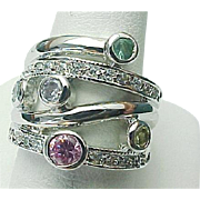 Sterling Silver Multi Colored Faux Gemstone Wide Band