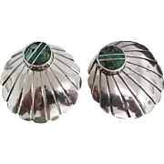 Native American  Navajo Inlaid Chrysoprase &  Turquoise 925 Sterling Silver Shell Earrings Handcrafted By Donald Douglas
