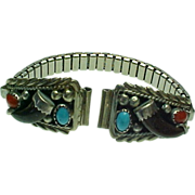 Navajo Mae Bia Turquoise, Onyx, Coral Watch Ends