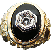14K Solid Yellow Gold Nugget Onyx & SI1 1/5 Carat Diamond Ring