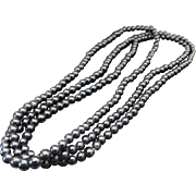 Vintage Long Black Onyx Beaded Necklace
