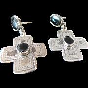 Vintage Sterling Silver Pierced Post Dangle Onyx Cross Earrings
