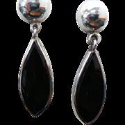 Mexico Sterling Silver Onyx Pierced Post Drop Earrings