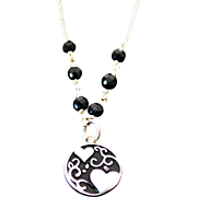 Sterling Silver Onyx Beaded Friends Pendant/Necklace