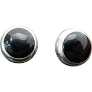 Sterling Silver Pierced Post Onyx Earrings