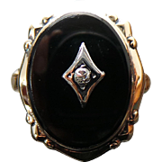 Art Deco 10K Yellow Gold Onyx & Diamond Ring