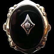 Art Deco 10K Yellow Gold Onyx & Diamond Ring