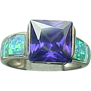 Sterling Silver Inlaid Created Opal & Amethyst Ring