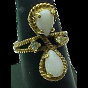 Vintage Opal & Rhinestone Rope Style Ring