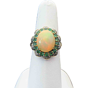 10K Yellow Gold Beautiful Ethiopian Opal, Green Tourmaline And Diamond Ring