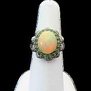 10K Yellow Gold Beautiful Ethiopian Opal, Green Tourmaline And Diamond Ring