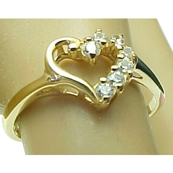 Vintage 10K Yellow Gold Open Heart Diamond Ring from
