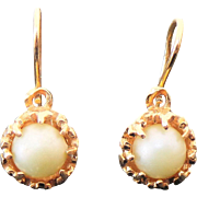 14K Yellow Gold Pierced Drop Pearl Earrings