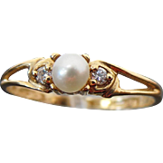 10K Yellow Gold Cultured Pearl & Simulated Diamond Ring