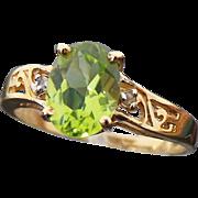 10K Yellow Gold 1.35 Carat Peridot & Diamond Ring