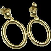 14K Yellow Gold Pierced Post Oval Hoop Earrings