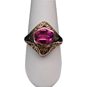 Vintage 10 Karat Yellow & White Gold Pink Sapphire Filigree Ring